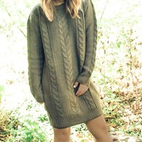 Brandywine Oversized Olive Sweater Dress by EVERLY