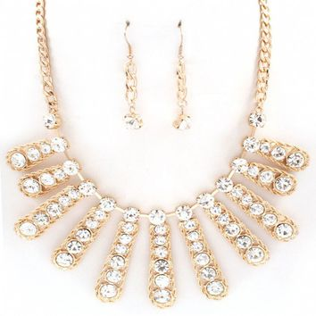 Poppy's Clear Crystal Gold Twisted Design Bib Necklace Set