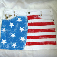 FREE SHIPPING Ooak Mini White Jeans Skirt Hand Painted Studded Handmade Short with USA American Flag Size M By Cvetinka