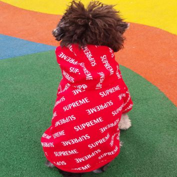 Supreme Cute Fashion Dog pet clothes spring fall winter Dog Cost sport clothes Hoodie Coat cloths Red G