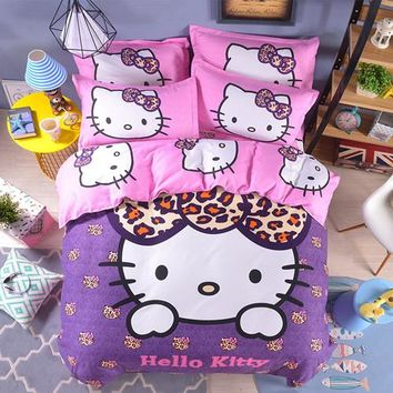 Unihome Home textiles Children Cartoon Hello kitty kids bedding set, include duvet cover bed sheet pillowcase