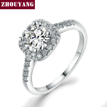 18K White Gold Plated Exquisite Bijoux Fashion Square Wedding & Engagement Ring Made With AAA+ CZ diamond Jewelry  ZYR531