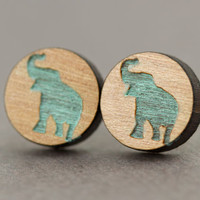 Elephant Stud Earrings : Cherry Wood Earrings, Teal, Lucky Elephant, Silhouette, Zoo, Wildlife, Round, 12mm