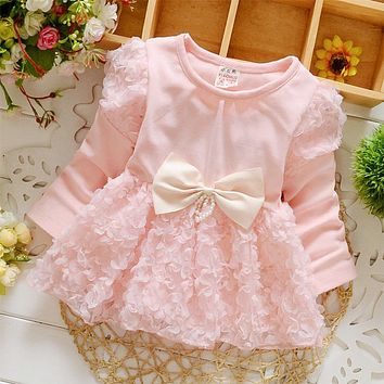 DreamShining Baby Girl Dress Long Sleeve Children Clothing Spring Kids Clothes Baby Girl Princess Dress For Party Birthday