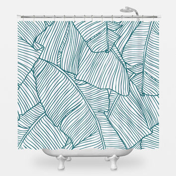 The Palms in White Shower Curtain