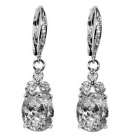 Amanda Oval Drop Dangle Earrings | 2.5ct | Cubic Zirconia | Silver