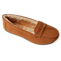 Faux Soft Suede Fur Lined Moccasin Loafers Camel
