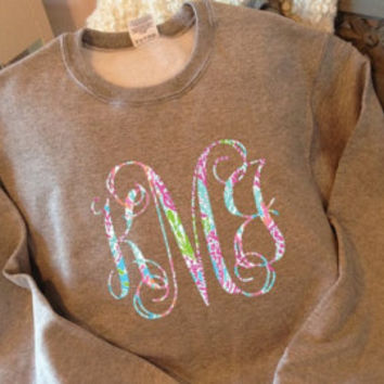 Youth Monogram Lilly Pulitzer Inspired Sweatshirt - XL Monogram - Youth Crewneck Sweatshirt - Great for Fall