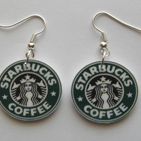 Hand Made Starbucks Coffee Logo   Earrings