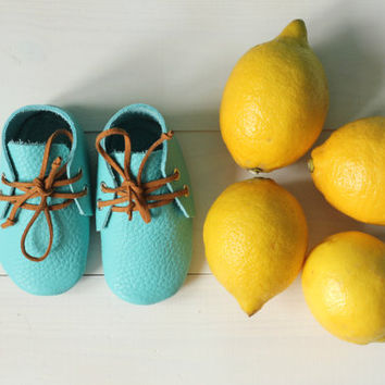 Handmade blue baby moccasins with brown shoelaces Newborn, infant, toddler soft shoes