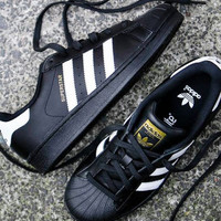 """Adidas"" Fashion Shell-toe Flats Sneakers Sport Shoes Black White Golden"