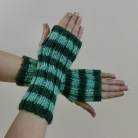 Striped Green Fingerless Gloves Knit Mint Medium Length