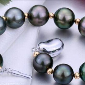 Tahitian Black Red Green Pearl Bracelet