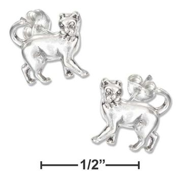 Sterling Silver Mini Prancing Cat Earrings on Stainless Steel Posts and Nuts