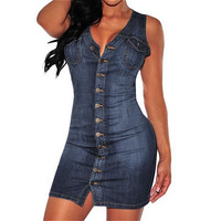 Summer Women Party Button Down Sleeveless Denim Dresses