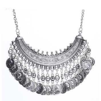 Silver Coins Pendant Statement Bib Charm Choker Coin Choker Necklace