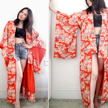 Vintage Japanese Kimono Robe Floral Print - One Size Fits All