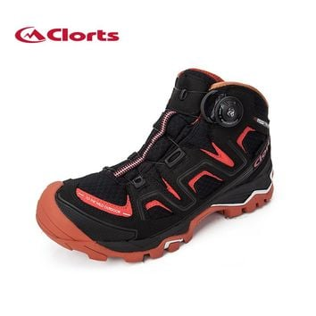 Clorts High-Cut Men Hiking Boots BOA Fast Lacing Mountain Boots Waterproof Climbing Shoes Outdoor Boots Red/Black 3B016
