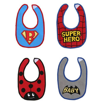 Baby Cool Bibs Set - Super Hero, Batman, Superbaby, Ladybird Cartoon Bibs = 1927801668