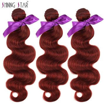 Bold Red 99J Brazilian Body Wave Human Hair Weave Bundles Burgundy Non Remy Shining Star Hair Extension Can Buy 3-4Pcs No Tangle