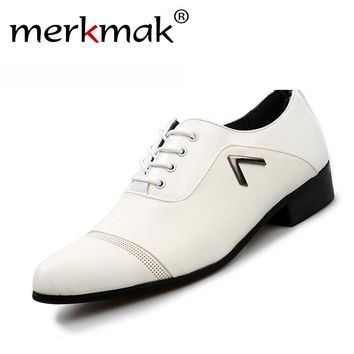 New 2017 Brand Oxfords Shoes For Men Casual Form Office Dress Shoes Summer Breathable Business Shoes Black White Drop Shipping