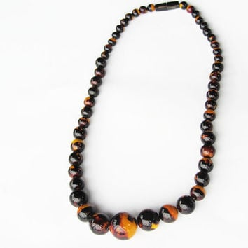 Tortoise shell beaded necklace (faux)- fashion black brown yellow