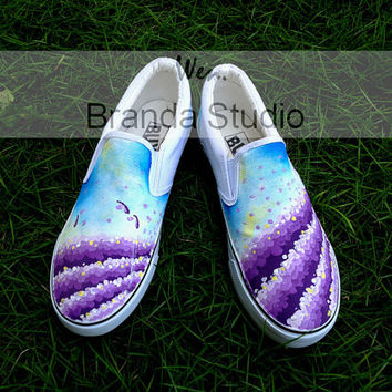 Christmas Gifts-Provence Lavender Shoes,Stuido Hand Painted Shoes Canvas Sneakers,slip on shoes custom shoes