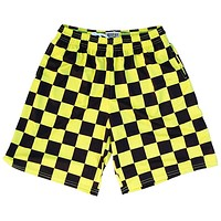 Checkerboard Yellow and Black Lacrosse Shorts