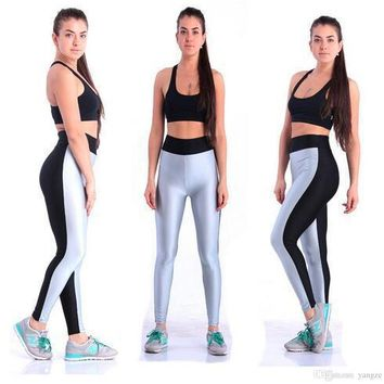 Women Elastic Cotton Legging for Yoga Fitness Gym High Waist Sports Pants New Athletic Slim Shaper Bottoms Patchwork Tights L109