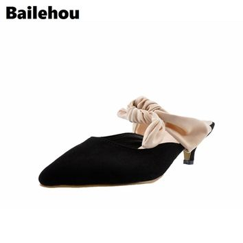 Bailehou Fashion Pumps Women Shoes Catwalk Heels Slip-On Casual Shoes Sexy Pointed Tod Mules Shoes Thin Heels Lacing Office
