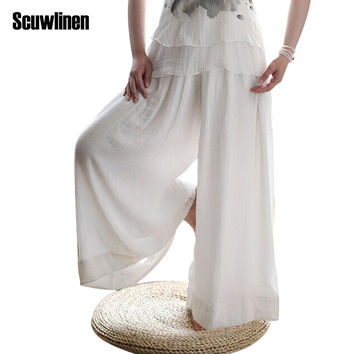 SCUWLINEN 2017 Women Pant Loose Elastic Waist Wide Leg Pant Casual Long Trousers for Women Loose Harem Pant Pantalon Femme S76
