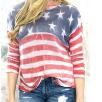 Red American Flag Print Long Sleeve Chiffon Blouse