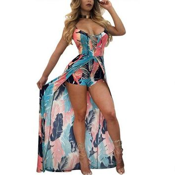 LMF78W 2017 Summer Beach Women Rompers Jumpsuits Women Floral Print Playsuit Sexy Deep V Neck Lace up Jumpsuits High Low Romper