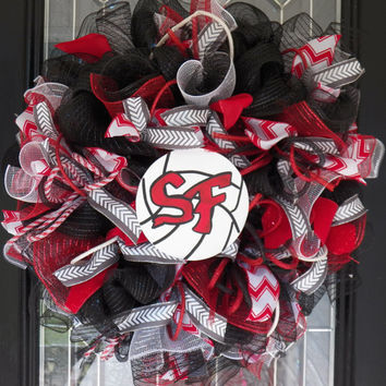 Made to Order, Volleyball Wreath, School Wreath, Team Sports, Door Hanger, Decoration, Personalized Volleyball Decor