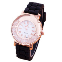 Womens Girls Vintage Diamond Sport Casual Silicone Jelly Strap Watch Christmas Gift