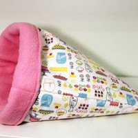Guinea Pig Cuddle Cozy, Hedgehog Sleep Sack, Ferret Sleeping Bag, Rat Snuggle Cosy - Pies and Cakes with Pink Fleece