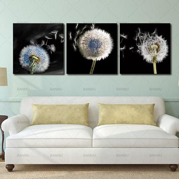 3 pieces picture canvas wall art canvas painting decor for living room  Dandelion landscape wall  print Unframed