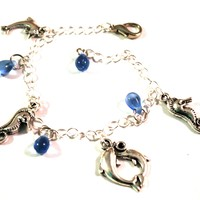 Dolphin and Seahorse Charm Bracelet with Blue Water Drops