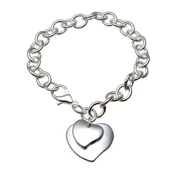Double Hearts Charm Thick Metal Chain Bracelet