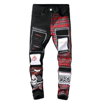 Men's skull print Scottish plaid patchwork jeans Trendy design black ripped distressed