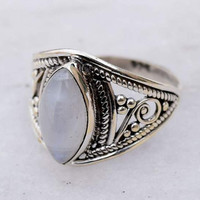 Silver Moonstone Ring, Sterling Silver, Round Shaped Moonstone, Engraving, Silver Rings Women, Moonstone, Gemstone, Gypsy, Sterling Ring