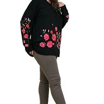 Umgee Womens Floral Embroidered Long Sleeve Sweater Plus Size