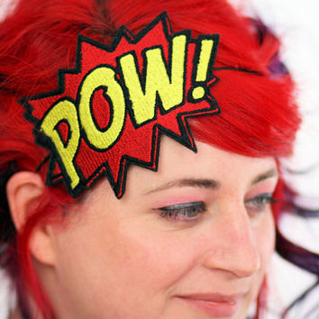 Comic Pow Embroidered Headband Hair Decoration Shocking Red and Yellow