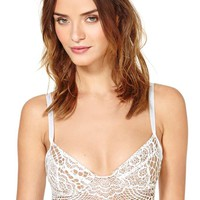 SKIVVIES Bat Your Lashes Lace Bralette - White
