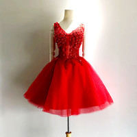 Homecoming Dress,Red Applique Chiffon V-neck Short Prom Dress