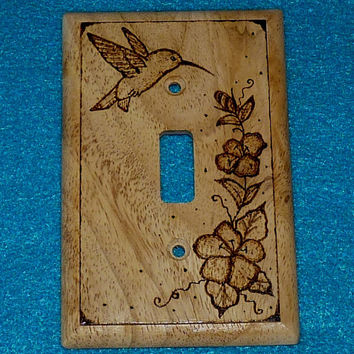 Rustic Wood Burned Single Light Switch Plate - Decorative Outlet Toggle Cover Carved Hummingbird Gift