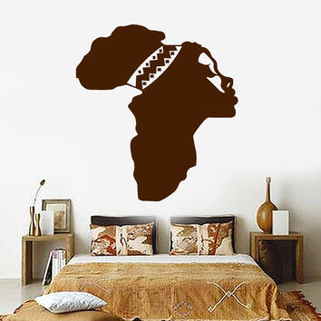 Vinyl Wall Decal Africa Map Beautiful Woman African Ethnic Decor Stickers Unique Gift (ig4816)