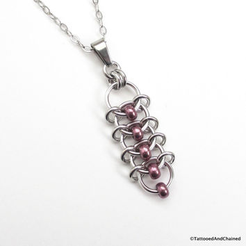 Eggplant purple beaded chainmaille pendant, centipede weave