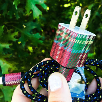 Plaid Iphone 5 6 7 Charger