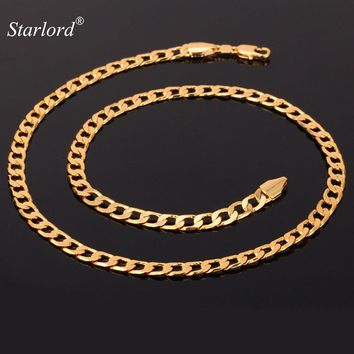Miami Cuban Chain Necklace Men 5MM Width Gold Color Fashion Gift Curb Link Chain Men Hip Hop Jewelry N744